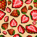 Seamless chaotic strawberry pattern full half pieces strawberries Royalty Free Stock Photos