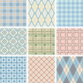 Seamless Check Pattern Set Stock Image
