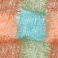 Seamless checkered pattern with grunge rough grid  wavy square elements in orange, blue, green, brown colors Royalty Free Stock Photo