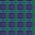 Seamless checkered vector dark pattern blue with green as a tartan plaid Stock Images