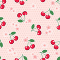 Seamless cherries and blossom on polka dot background sweet red with blossoms retro style pink design eps vector format Royalty Free Stock Image