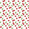 Seamless cherry pattern, red cherries and white background for scrapbooking, giftwrap, fabric and wallpaper design projects.