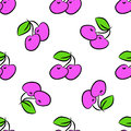 Seamless cherry pattern on white background