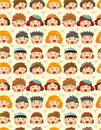 Seamless child face pattern Stock Photo