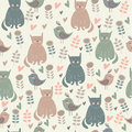 Seamless childish background with cute cats flowers and hearts in cartoon style Royalty Free Stock Photography