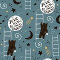 Seamless childish pattern with bears, stars and moon. Creative kids texture for fabric, wrapping, textile, wallpaper, apparel.