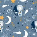 Seamless childish pattern with cute bears on clouds, moon, stars. Creative scandinavian style kids texture for fabric, wrapping,