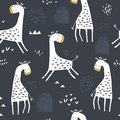 Seamless childish pattern with cute giraffe and hand drawn shapes. Creative kids texture for fabric, wrapping, textile, wallpaper