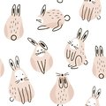 Seamless childish pattern with cute rabbits. Creative kids texture for fabric, wrapping, textile, wallpaper, apparel. Vector