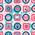 Seamless childish pattern with cute stamps various Stock Images