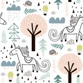 Seamless childish pattern with fairy unicorn, hedgehog in the wood. Creative kids city texture for fabric, wrapping, textile,
