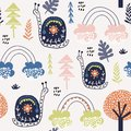 Seamless childish pattern with snails, and rainbows. Creative kids city texture for fabric, wrapping, textile, wallpaper, apparel