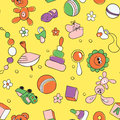 Seamless children background hand drawn pattern with s toys and elements Royalty Free Stock Image