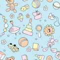 Seamless children background hand drawn pattern with s toys and elements Royalty Free Stock Images