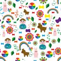 Seamless-children`s-background-with-a-rainbow-animal-balls