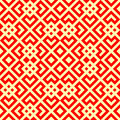 Seamless Chinese window tracery pattern. Repeated stylized red rhombuses on yellow background. Abstract wallpaper.