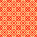 Seamless Chinese window tracery pattern. Repeated stylized red rhombuses on yellow background. Symmetric abstract vector