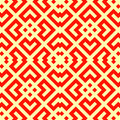 Seamless Chinese window tracery pattern. Repeated stylized red rhombuses on yellow background. Symmetric geometric motif