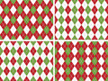 Seamless Christmas Argyle Patterns in Green and Red Royalty Free Stock Images
