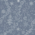 Seamless christmas background pattern with snowflakes snow snowman houses hoarfrost and firs decorative Royalty Free Stock Photos