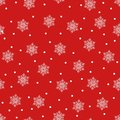 Merry Christmas and a Happy New Year! A set of seamless backgrounds with traditional symbols: snowflakes on a red background. Vect
