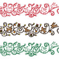 Seamless christmas border various icons Stock Images