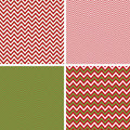 Seamless Christmas Chevron Patterns in Green and Red Stock Images