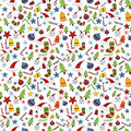 Seamless christmas doodle pattern design with elements Stock Photo