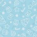 Seamless Christmas light blue pattern, vector
