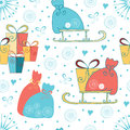 Seamless Christmas or New Year background with gifts, sledge, Santas bag made on cartoon style. Royalty Free Stock Photo