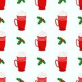 Seamless Christmas and New Year pattern. Holly leaves, cup of cacao.