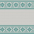 Seamless Christmas nordic knitting vector pattern with green border of white decorative ornament Royalty Free Stock Photo
