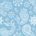 Seamless christmas and paisley pattern decorative background Royalty Free Stock Image