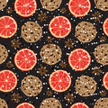 Seamless Christmas pattern with American cookies, anise and grapefruit. Vector illustrated fragrant holiday tile background. Royalty Free Stock Photo