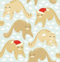 Seamless christmas pattern with cats Stock Photo
