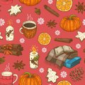 Seamless christmas pattern with cups, citrus, snowflakes and plaids
