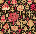 Seamless christmas pattern with decorative toy trees Stock Images
