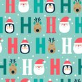 Seamless Christmas pattern with deer, penguin and Santa`s head. ho ho ho,