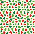 Seamless Christmas Pattern with Evergreen Trees