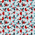 Seamless christmas pattern with leaves berries holly and birds b