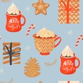 Seamless Christmas pattern with mugs of cacao with whipped cream, gifts, ginger cookie, lollipop and pinecone.