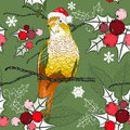 Seamless christmas pattern with parrot and christm vector holly Stock Photos