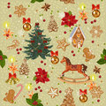 Seamless christmas pattern with rocking horse, christmas tree, candles, red bows, gingerbread, berries, golden bells in vintage st Royalty Free Stock Photo
