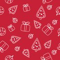 Seamless Christmas pattern with snowflakes on red background