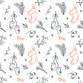 Seamless Christmas pattern. Tile vector background. Botanical winter wallpaper. Wrapping paper texture Royalty Free Stock Photo