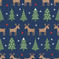 Seamless Christmas pattern - varied Xmas trees, deer, stars and snowflakes.