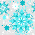 Seamless christmas pattern vector green and white snowflakes on a gray background a blank for printing on fabric wrapping paper Royalty Free Stock Photos
