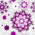 Seamless christmas pattern vector purple and white snowflakes on a gray background a blank for printing on fabric wrapping paper Stock Photos