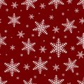 Seamless pattern with white snowflakes on a red background. Merry christmas seamless pattern, vector Royalty Free Stock Photo