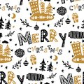 Seamless Christmas patterns-various Christmas trees,lettering, gifts,balls,cones. Vector design for the winter holidays